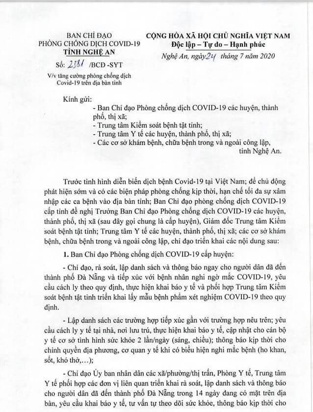 Yêu cầu cách ly người từ Đà Nẵng đến Nghệ An trong 14 ngày qua - ảnh 1