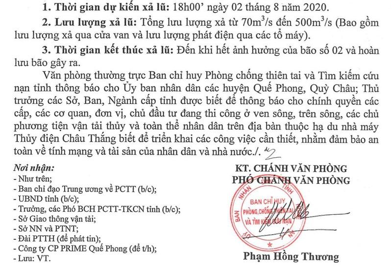 Từ 18 giờ hôm nay: Xã lũ hồ chứa thủy điện Châu Thắng, Nghệ An - ảnh 2