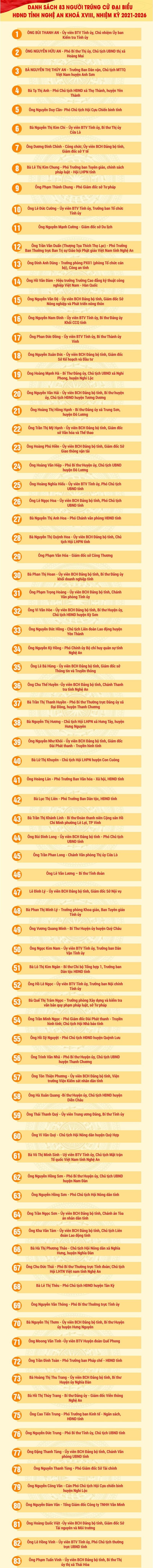 Công bố danh sách 83 đại biểu HĐND tỉnh Nghệ An  - ảnh 3