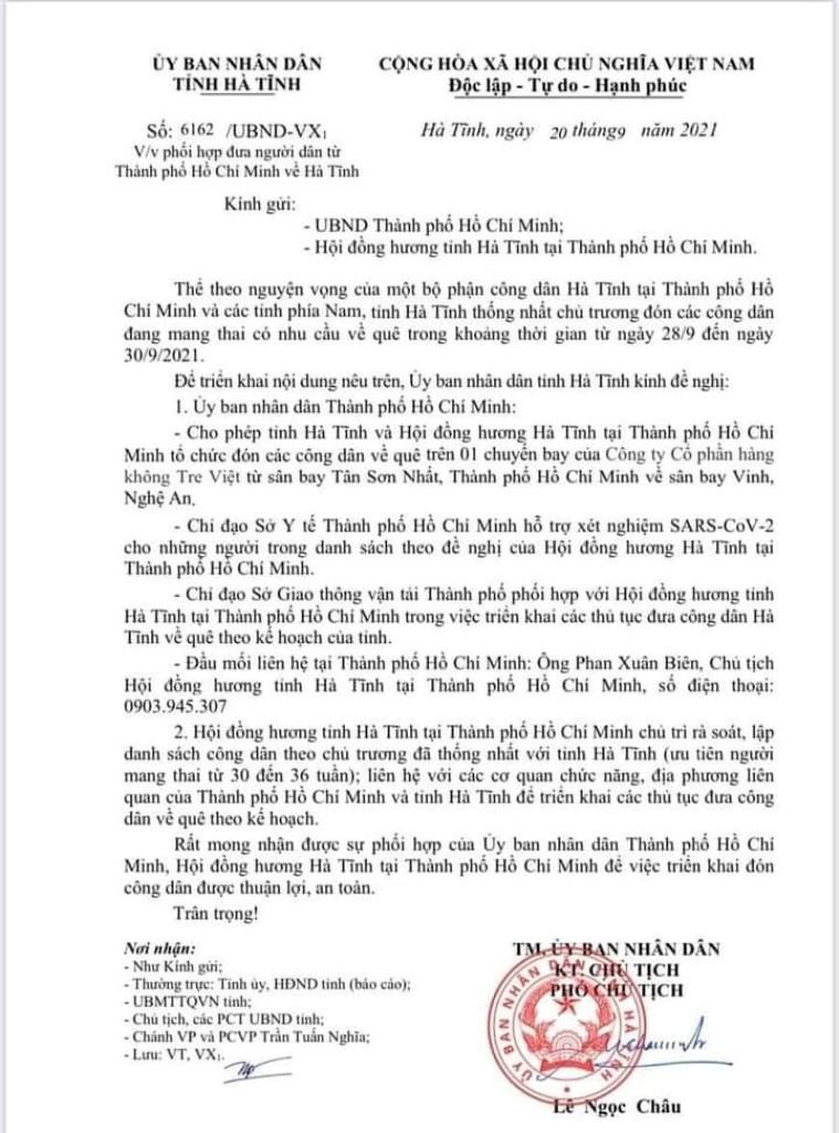 Đề xuất tổ chức chuyến bay đón bà bầu ở TP.HCM về quê Hà Tĩnh - ảnh 1