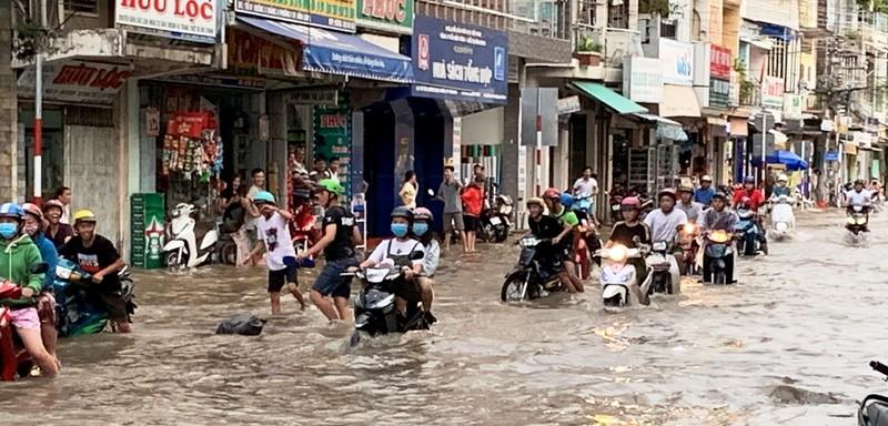 Vĩnh Long: Xe cộ 'bơi' giữa phố do triều cường  - ảnh 1