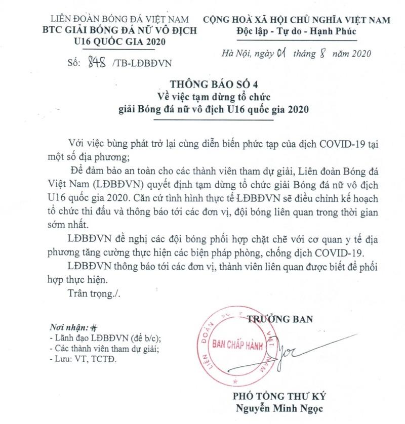 Chính thức: Tiếp tục dừng một giải đấu quốc gia ở Hà Nội - ảnh 2