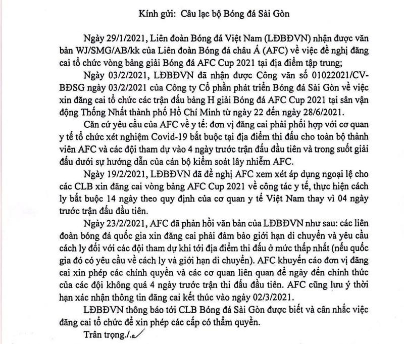 Sài Gòn FC không thể tổ chức AFC Cup do dịch COVID-19 - ảnh 1