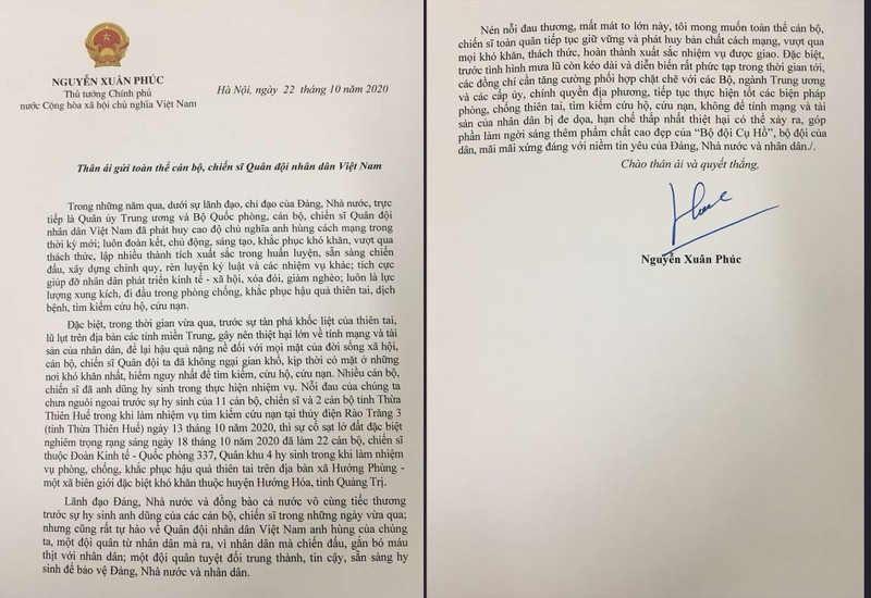 Thủ tướng Nguyễn Xuân Phúc gửi thư cho Quân đội Nhân dân - ảnh 1