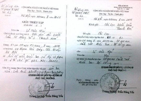 Giấy triệu tập của Lê Văn Hải, Đội phó Đội Kiểm lâm cơ động số 1 của Bộ Công an