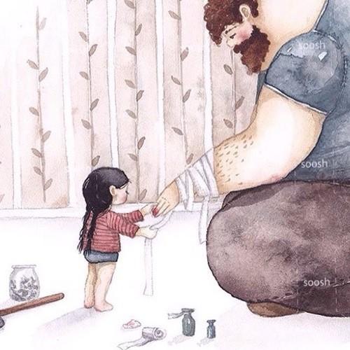 Khi cha bị đau, con là y tá