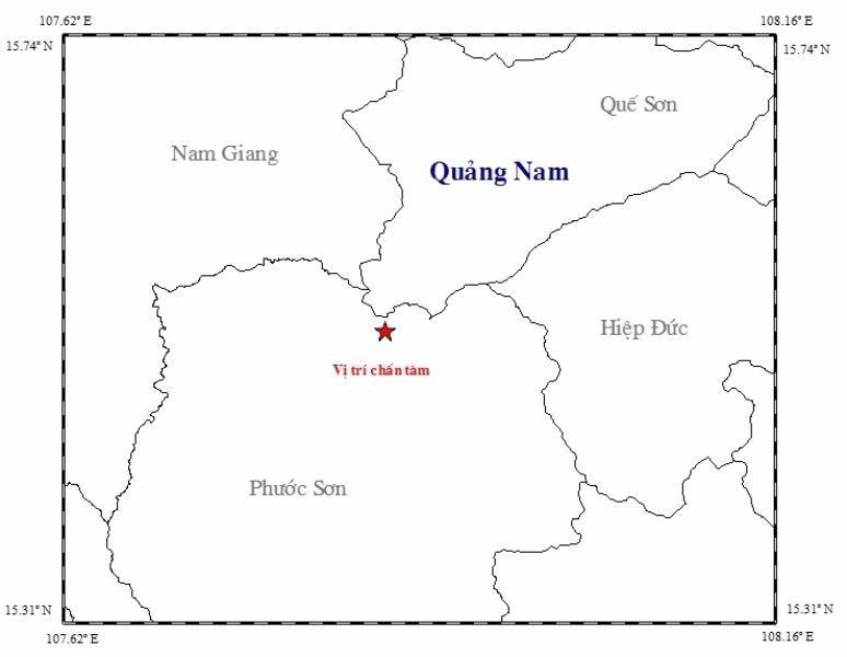 Bản đồ tâm chấn động đất tại Phước Sơn. Ảnh Viện Vật lí địa cầu