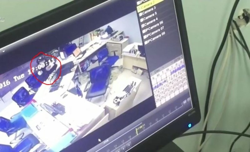 Hình ảnh nghi can (vòng đỏ) được camera ghi lại