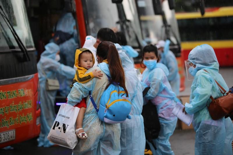 Quảng Ngãi đón 135 thai phụ, trẻ em về quê bằng ô tô - ảnh 1