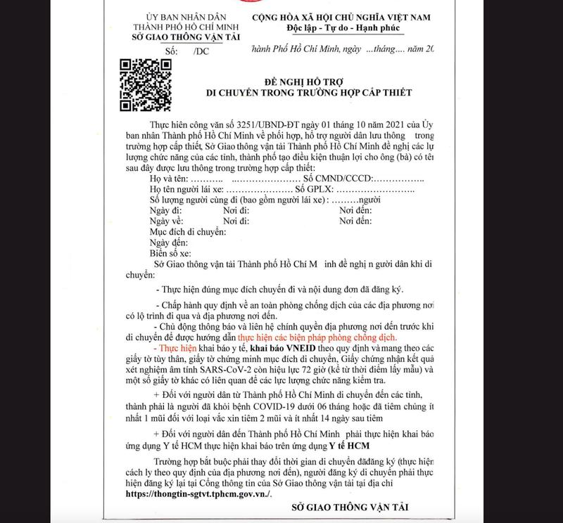 Người dân muốn về TP.HCM thì đăng ký qua web của Sở GTVT TP.HCM - ảnh 2