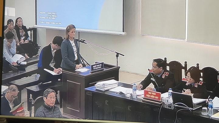 Người phụ nữ nước ngoài phát biểu tại phiên xử 2 cựu bộ trưởng - ảnh 1