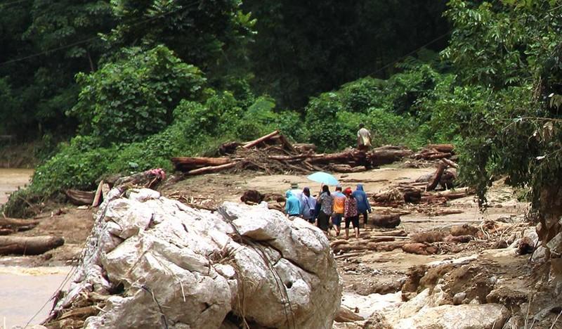 Lũ rút ở Sa Ná, gỗ tràn lan khắp bản - ảnh 1