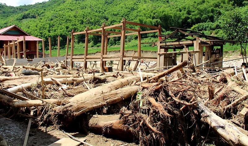 Lũ rút ở Sa Ná, gỗ tràn lan khắp bản - ảnh 13