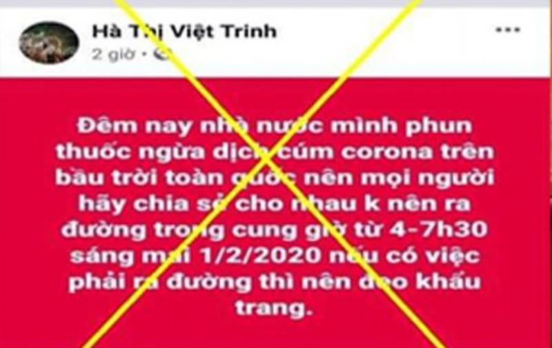 Xử lý cô gái phao tin 'phun thuốc toàn quốc' trên Facebook - ảnh 1