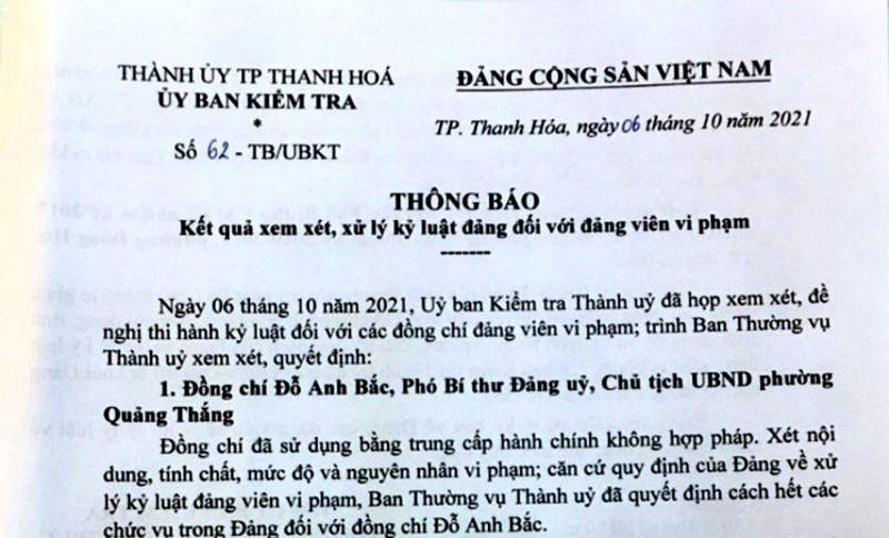 Cách chức, khai trừ Đảng nhiều cán bộ ở TP Thanh Hóa - ảnh 1