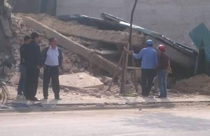 Hiện trường ngôi nhà 3 tầng sau khi bị sập