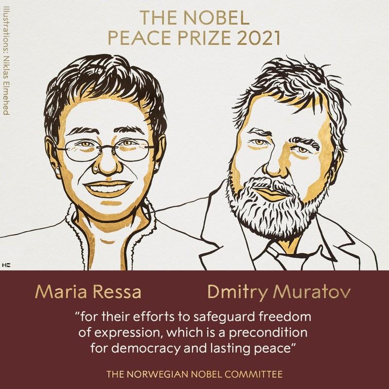 Nobel Hòa bình 2021 vinh danh hai nhà báo - Philippines và Nga - ảnh 1