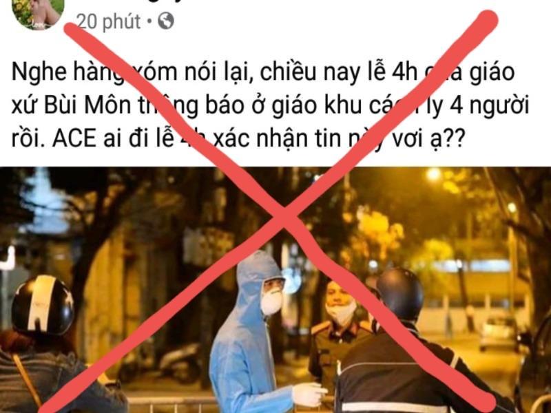 TP.HCM: Bác thông tin 4 người bị cách ly ở giáo xứ Bùi Môn - ảnh 1