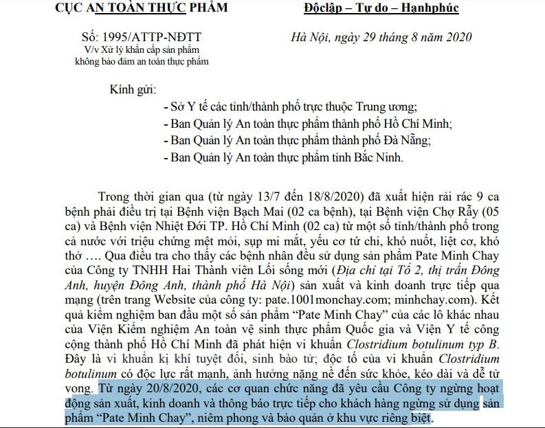 Yêu cầu ngưng từ 20-8, pate Minh Chay vẫn sản xuất đến 28-8? - ảnh 1
