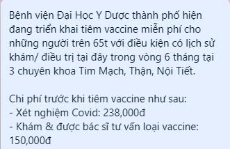 Bệnh viện ĐH Y dược TP.HCM nói về thông tin thu tiền người tiêm vaccine COVID-19 - ảnh 1