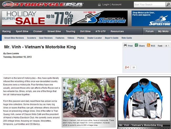 Chủ bộ sưu tập môtô 'khủng' tại Hà thành lên 'báo Tây' 1