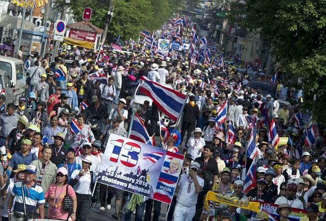 Nổ súng tại điểm biểu tình ở Thái Lan, 7 người bị thương - ảnh 1