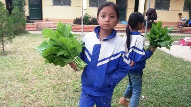 Học sinh mang rau tặng thầy cô giáo ngày lễ 20-11 - Ảnh: Đậu Minh Tuấn
