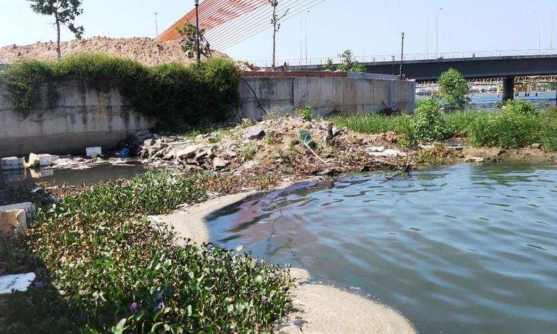 Nước thải đem ngòm kèm váng dầu tuồn ra sông Hàn - ảnh 1