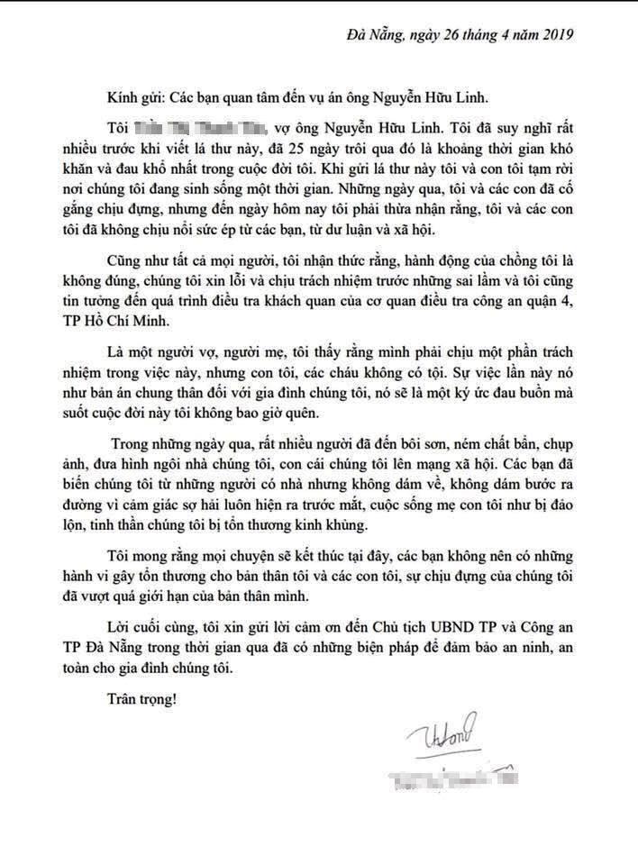 Vợ ông Nguyễn Hữu Linh rút đơn tố cáo gửi công an - ảnh 1