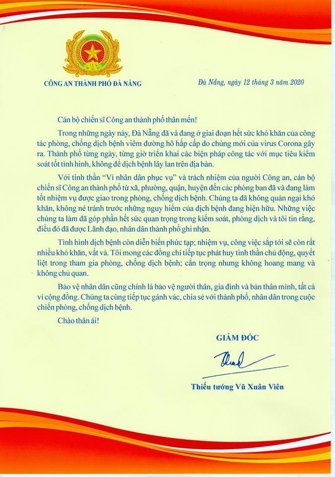 Tướng Viên gửi thư cán bộ, chiến sĩ chống COVID-19 ở Đà Nẵng - ảnh 1