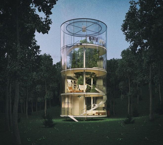 Nhà 4 tầng trong suốt nằm giữa rừng - ảnh 6