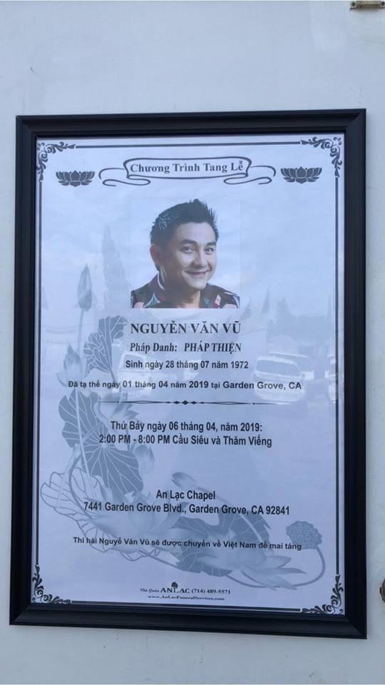 Hình ảnh đám tang nghệ sĩ Anh Vũ đang trực tiếp tại Mỹ - ảnh 2