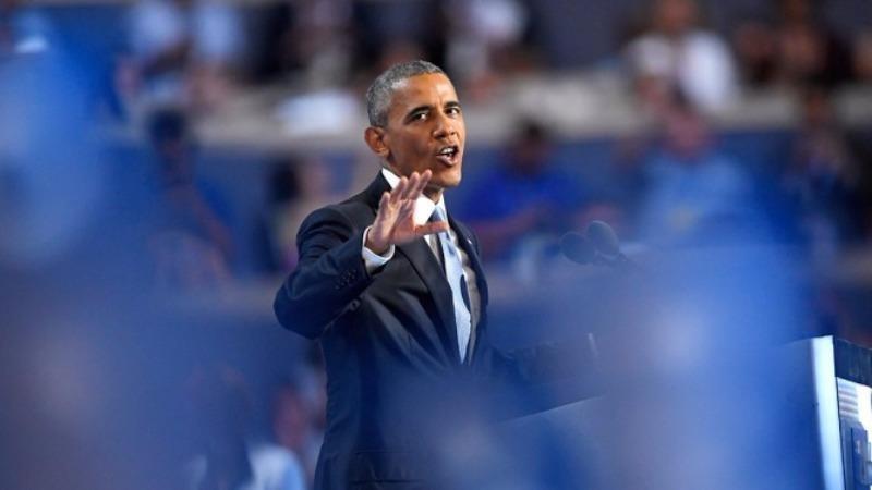Tổng thống Obama phát biểu tại đại hội đảng Dân chủ tối 27-7.