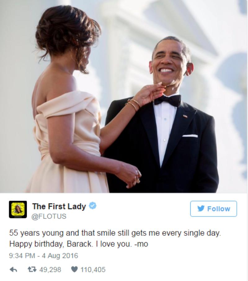 Michelle Obama chúc mừng sinh nhật chồng