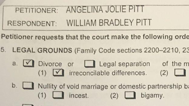 Đơn đề nghị ly hôn Brad Pitt do Jolie nộp ở tòa án Loa Angeles.