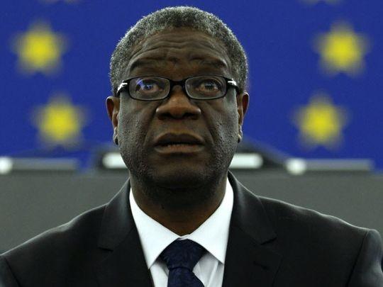 Tiến sĩ Denis Mukwege phát biểu tại Quốc hội châu Âu ở Strasbourg (Pháp) ngày 26-11-2015.