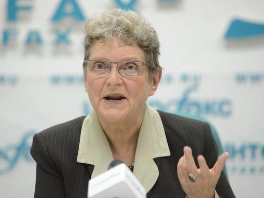 Bà Svetlana Gannushkina tại một cuộc họp báo ở Moscow (Nga) ngày 4-10-2012.