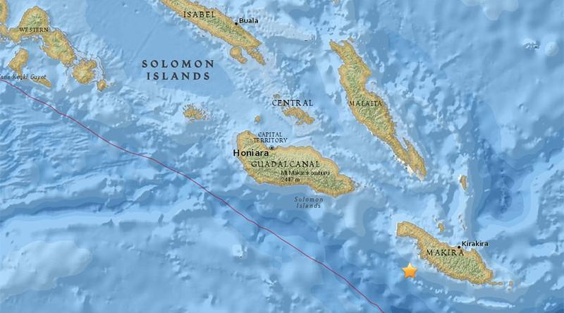 Tâm chấn động đất gần Quần đảo Solomon ở nam Thái Bình Dương. Ảnh: AP
