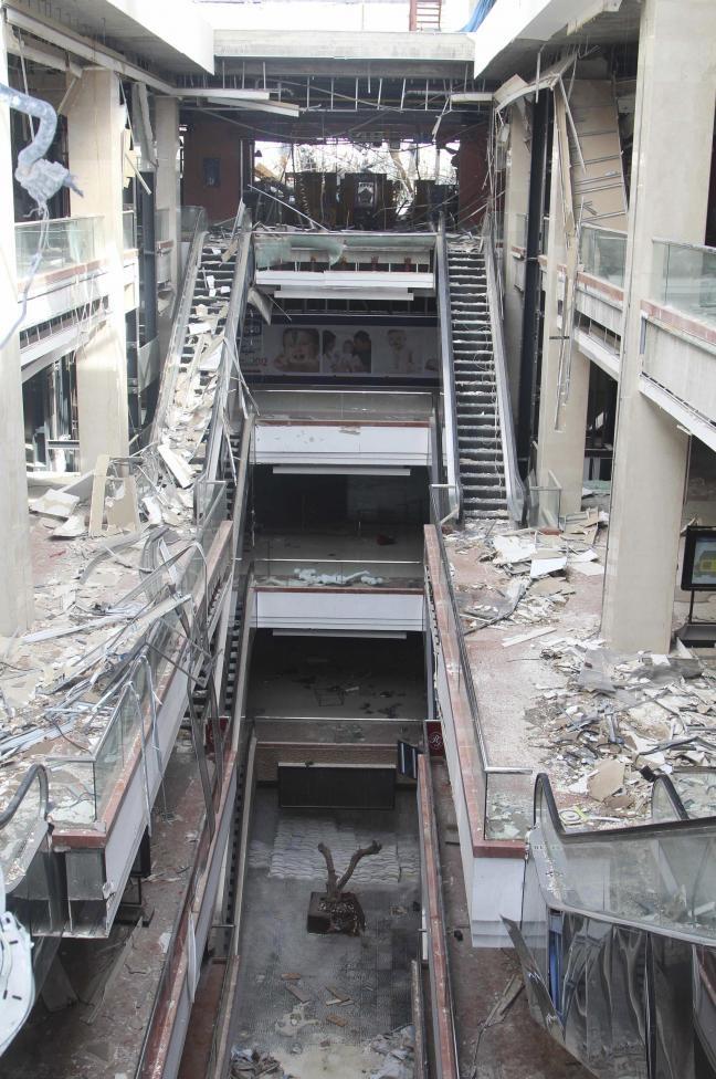 Trung tâm mua sắm Shahba (Aleppo) sau khi bị chiến tranh tàn phá.