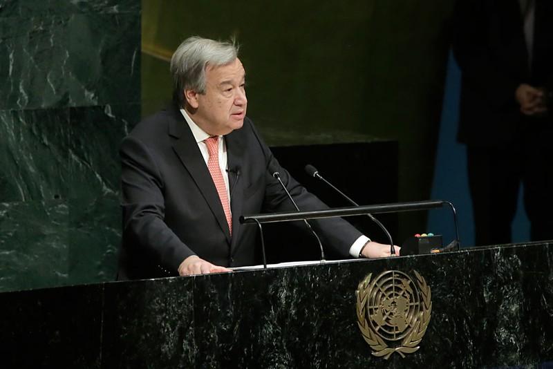 Ông António Guterres phát biểu trước 193 thành viên LHQ sau khi tuyên thệ nhậm chức. Ảnh: UN