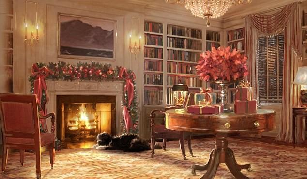 Hai chú chó cưng của gia đình Obama được đưa vào nhiều tấm thiệp Giáng Sinh của Nhà Trắng. Đây là tấm thiệp năm 2011. Ảnh: DAILY MAIL