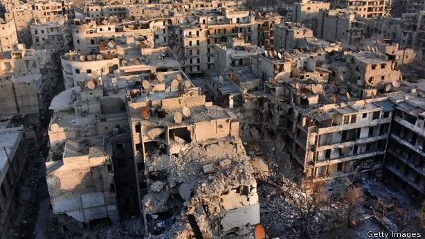 Aleppo đổ nát vì nội chiến.