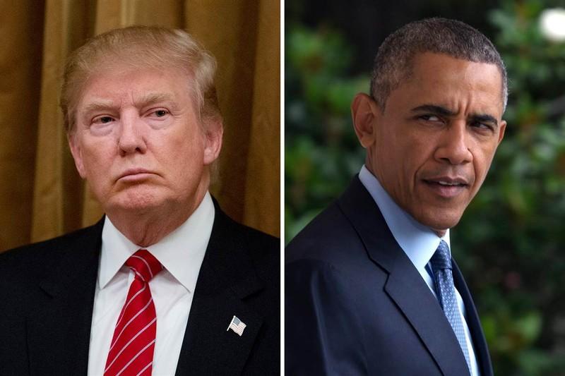 Tổng thống đắc cử Donald Trump (trái) khẳng định KHÔNG ĐỜI NÀO có chuyện Tổng thống Obama (phải) thắng được ông. Ảnh: REUTERS