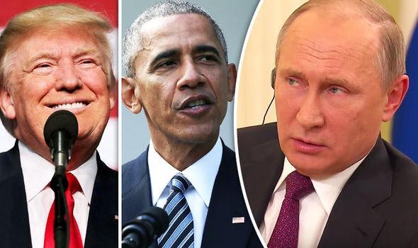 Ông Trump (trái) có thể thay đổi lệnh trừng phạt Nga của Tổng thống Obama (giữa), Tổng thống Nga Putin bên phải.  Ảnh: DAILY EXPRESS