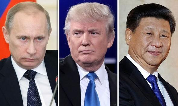 (Từ trái qua): Tổng thống Nga Vladimir Putin, Tổng thống đắc cử Mỹ Donald Trump, Chủ tịch Trung Quốc Tập Cận Bình. Ảnh: DAILY EXPRESS