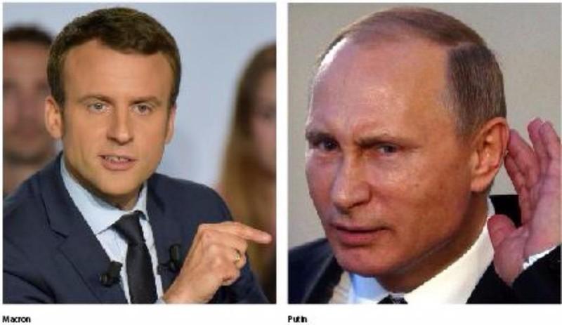 Tân Tổng thống Pháp Macron (trái) sắp có cuộc gặp khó khăn, không khoan nhượng với Tổng thống Nga Putin (phải). Ảnh: LEADERSHIP