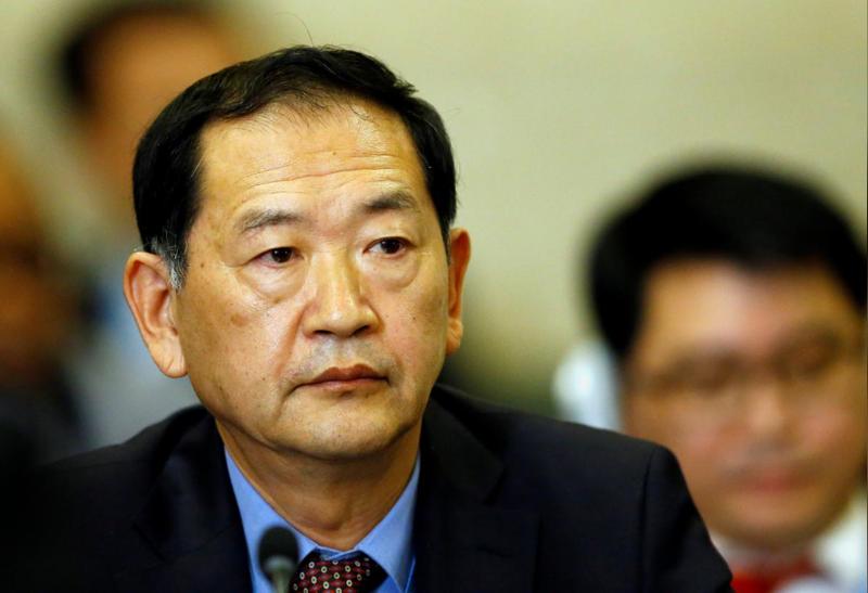 Đại sứ Triều Tiên tại LHQ Han Tae-song tham dự hội nghị Giải trừ quân bị tại trụ sở LHQ ở Geneva (Thụy Sĩ) ngày 5-9. Ảnh: REUTERS
