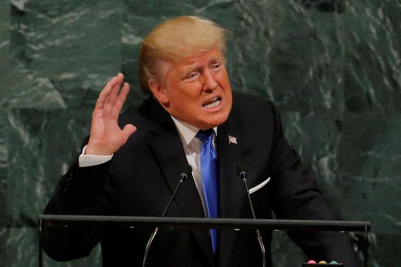 """Tổng thống Mỹ Donald Trump phát biểu tại kỳ họp Đại Hội đồng LHQ ngày 19-9, đe dọa sẽ """"hủy diệt hoàn toàn"""" Triều Tiên nếu không từ bỏ vũ khí hạt nhân. Ảnh: REUTERS"""