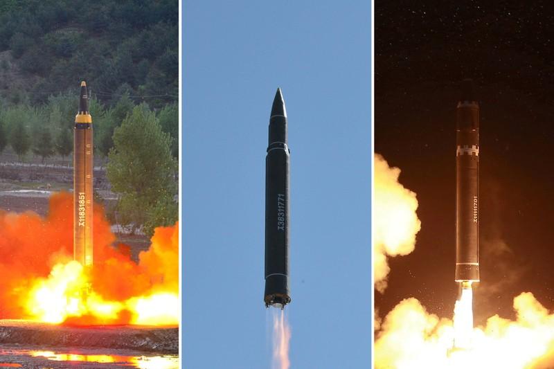 Từ trái sang: Các tên lửa Hwasong-12, Hwasong-14, và Hwasong-15 của Triều Tiên. Ảnh: KCNA