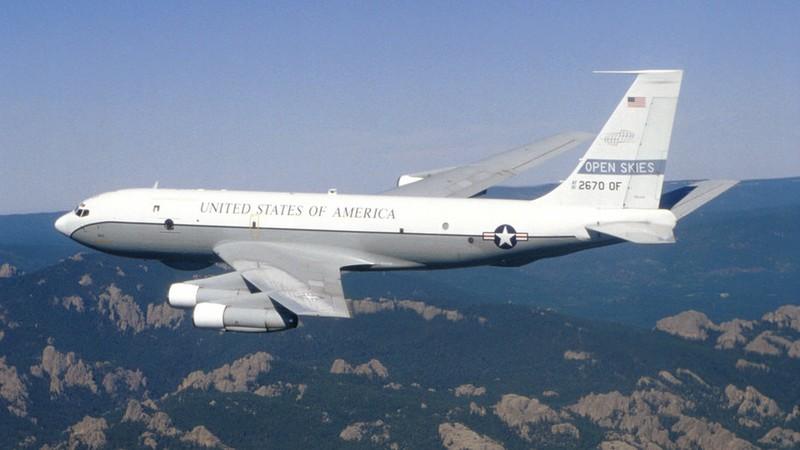 Máy bay Boeing OC-135B của Không quân Mỹ hoạt động theo hiệp ước Bầu trời mở. Ảnh: RUSSIA TODAY